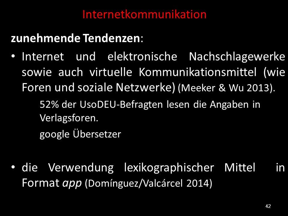 Internetkommunikation zunehmende Tendenzen: Internet und elektronische Nachschlagewerke sowie auch virtuelle Kommunikationsmittel (wie Foren und sozia