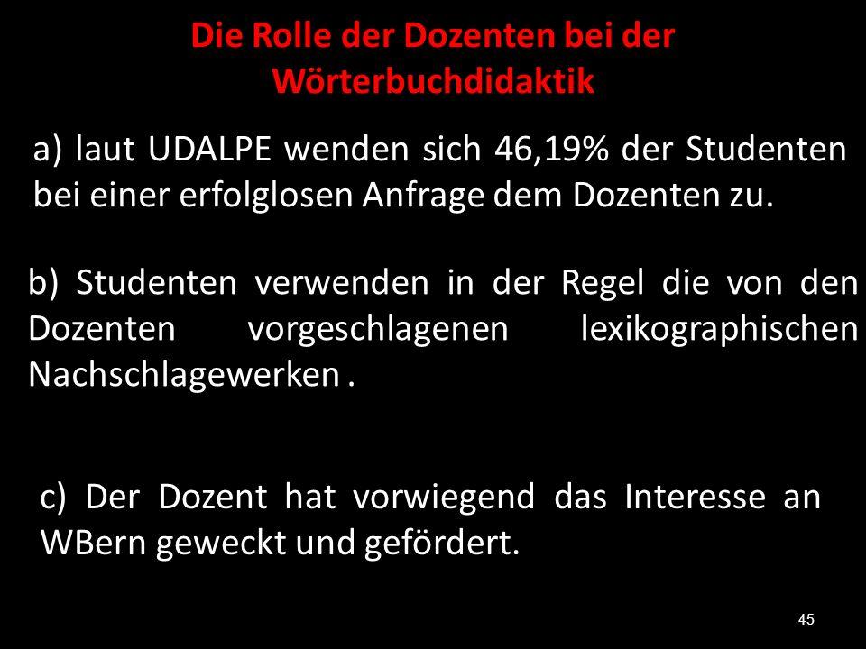 Die Rolle der Dozenten bei der Wörterbuchdidaktik a) laut UDALPE wenden sich 46,19% der Studenten bei einer erfolglosen Anfrage dem Dozenten zu. 45 b)