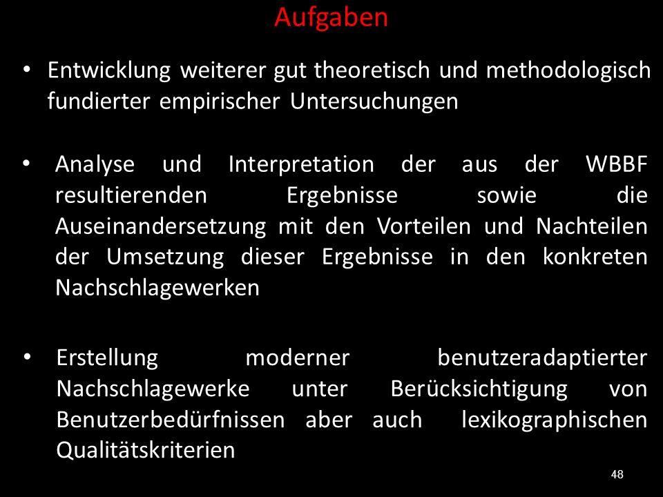 Aufgaben Entwicklung weiterer gut theoretisch und methodologisch fundierter empirischer Untersuchungen 48 Analyse und Interpretation der aus der WBBF