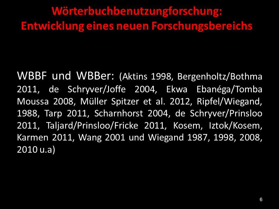 Wörterbuchbenutzungforschung: Entwicklung eines neuen Forschungsbereichs WBBF und WBBer: (Aktins 1998, Bergenholtz/Bothma 2011, de Schryver/Joffe 2004