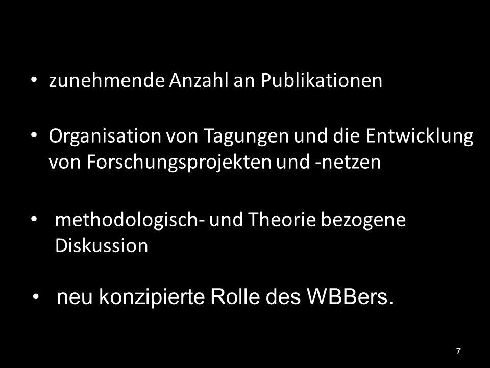 7 zunehmende Anzahl an Publikationen Organisation von Tagungen und die Entwicklung von Forschungsprojekten und -netzen methodologisch- und Theorie bez