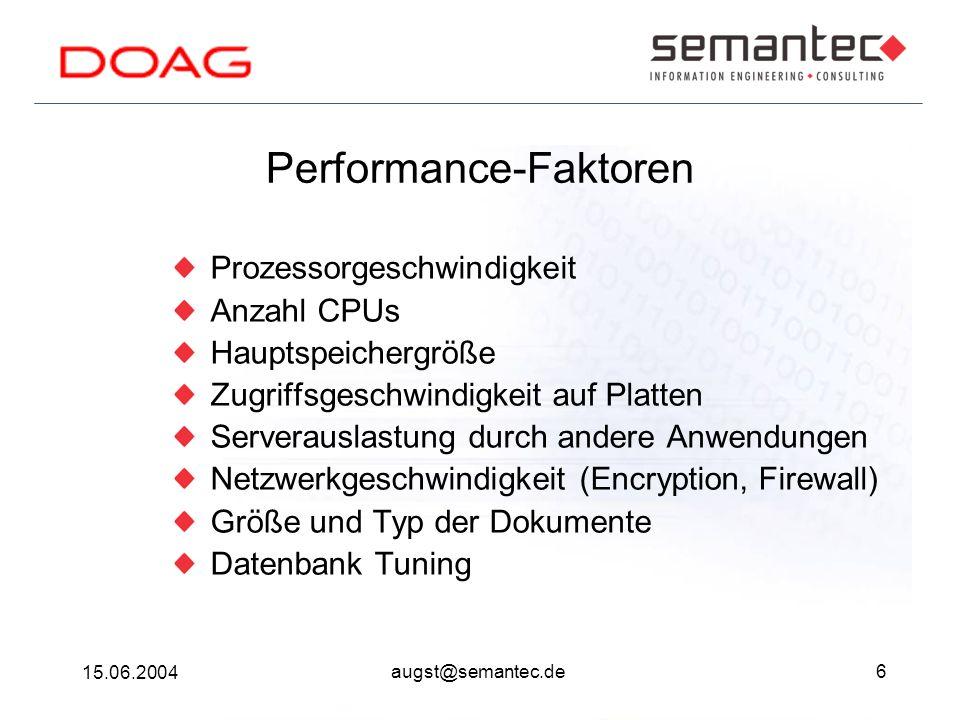 6 15.06.2004 augst@semantec.de Performance-Faktoren Prozessorgeschwindigkeit Anzahl CPUs Hauptspeichergröße Zugriffsgeschwindigkeit auf Platten Serverauslastung durch andere Anwendungen Netzwerkgeschwindigkeit (Encryption, Firewall) Größe und Typ der Dokumente Datenbank Tuning