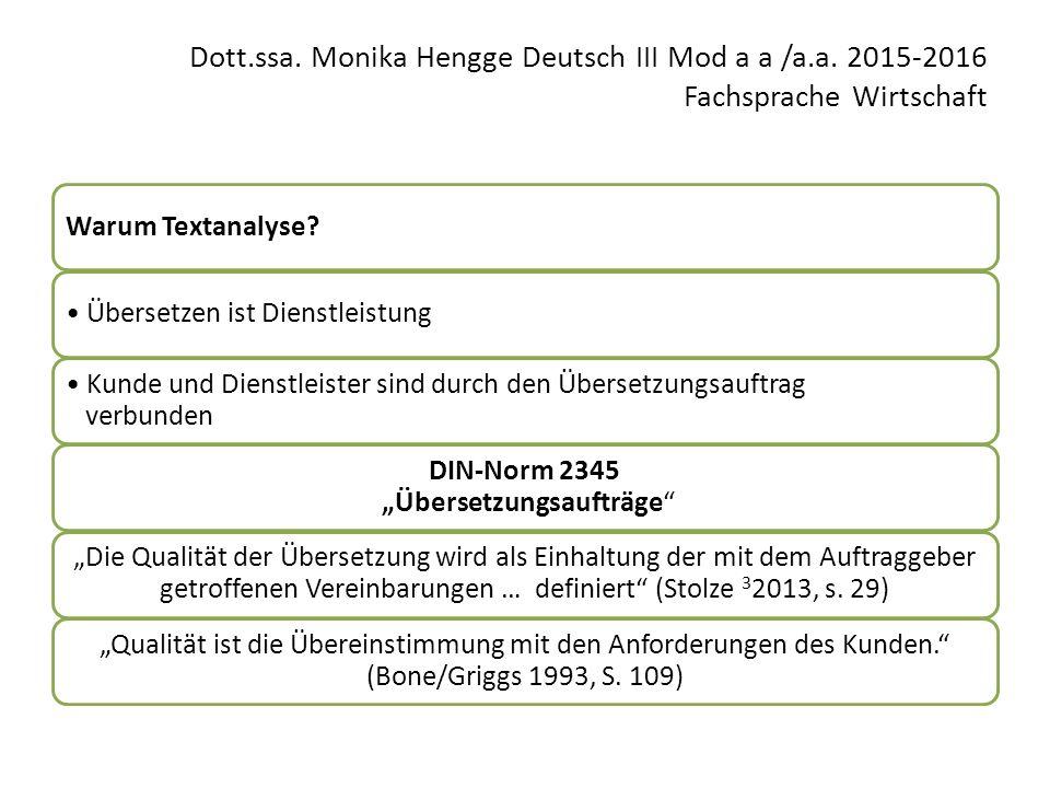 Dott.ssa. Monika Hengge Deutsch III Mod a a /a.a. 2015-2016 Fachsprache Wirtschaft Warum Textanalyse? Übersetzen ist Dienstleistung Kunde und Dienstle