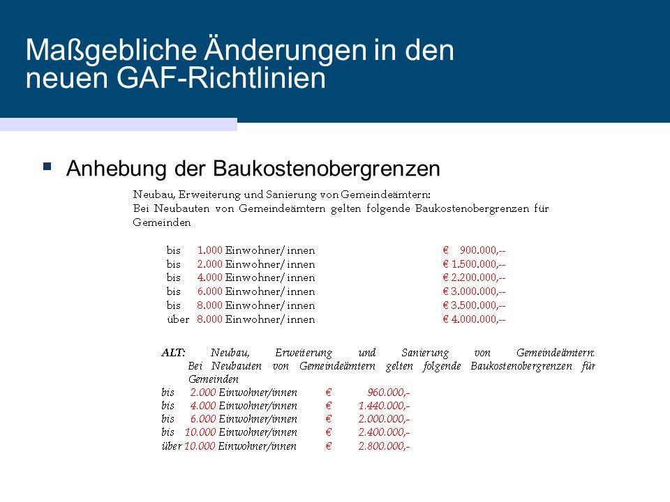 Maßgebliche Änderungen in den neuen GAF-Richtlinien  Anhebung der Baukostenobergrenzen