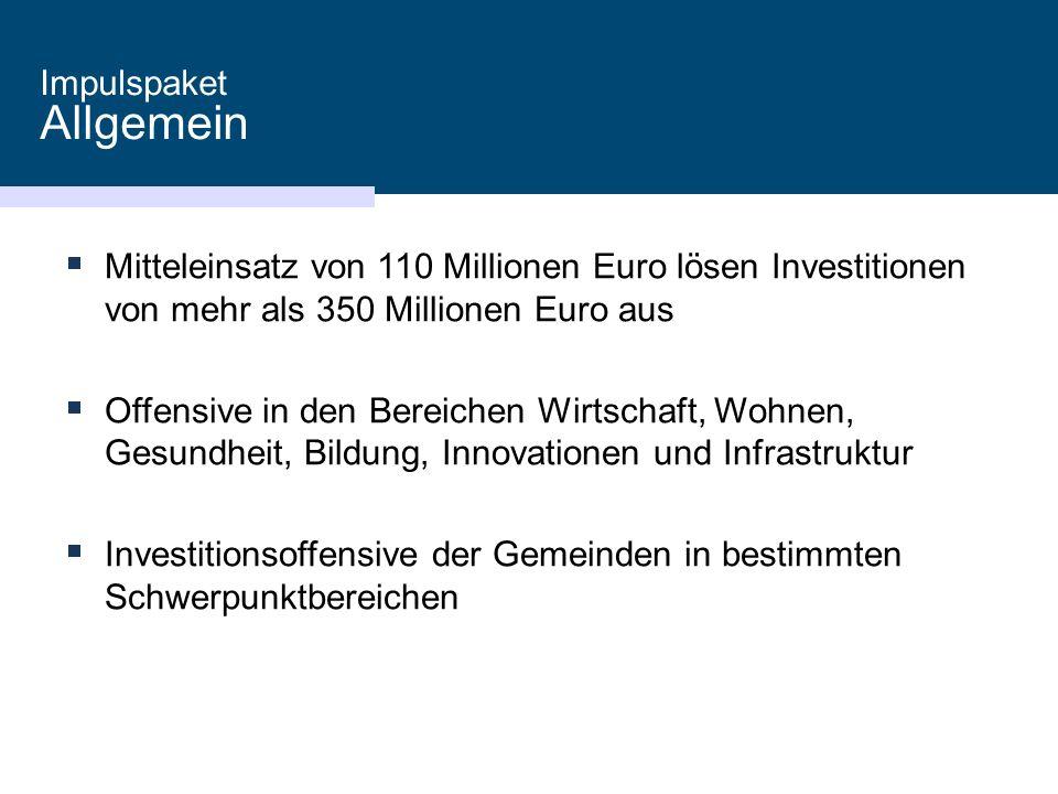  Mitteleinsatz von 110 Millionen Euro lösen Investitionen von mehr als 350 Millionen Euro aus  Offensive in den Bereichen Wirtschaft, Wohnen, Gesundheit, Bildung, Innovationen und Infrastruktur  Investitionsoffensive der Gemeinden in bestimmten Schwerpunktbereichen Impulspaket Allgemein