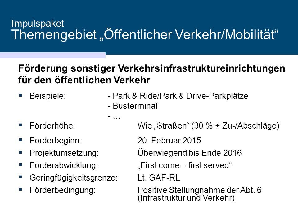 """Impulspaket Themengebiet """"Öffentlicher Verkehr/Mobilität"""" Förderung sonstiger Verkehrsinfrastruktureinrichtungen für den öffentlichen Verkehr  Beispi"""
