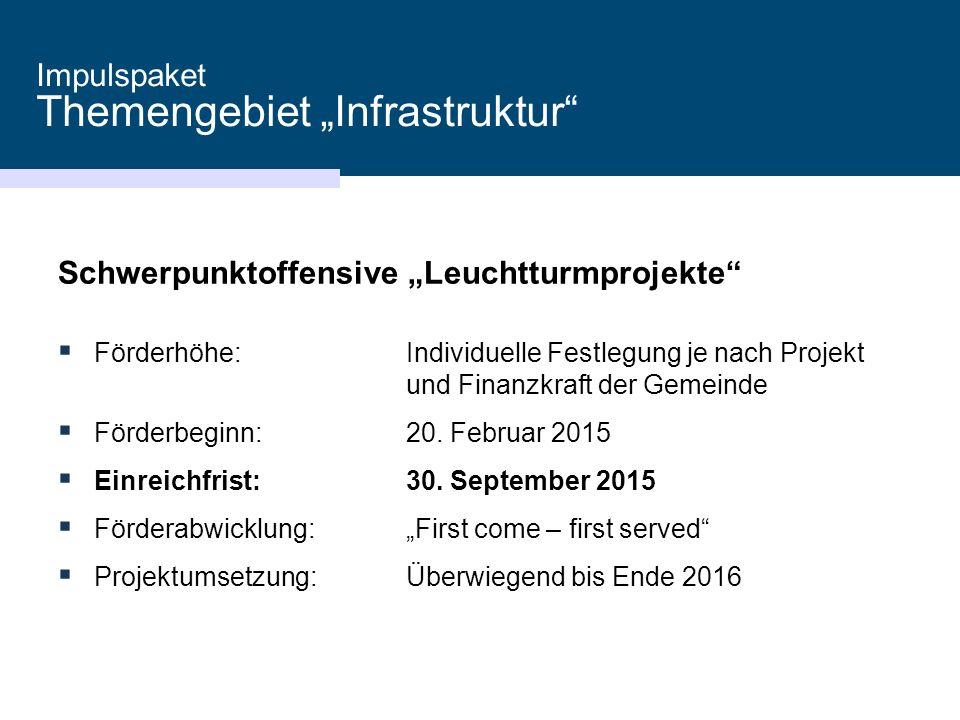 """Impulspaket Themengebiet """"Infrastruktur Schwerpunktoffensive """"Leuchtturmprojekte  Förderhöhe:Individuelle Festlegung je nach Projekt und Finanzkraft der Gemeinde  Förderbeginn:20."""