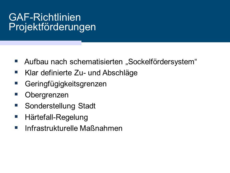 """GAF-Richtlinien Projektförderungen  Aufbau nach schematisierten """"Sockelfördersystem""""  Klar definierte Zu- und Abschläge  Geringfügigkeitsgrenzen """