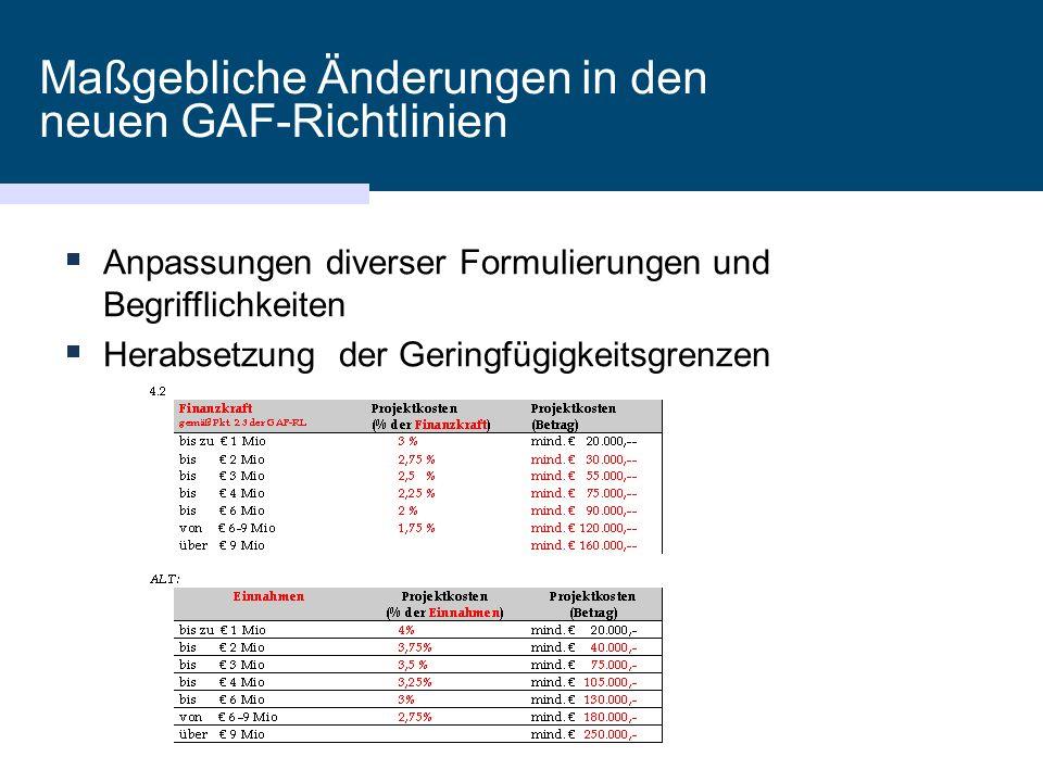 Maßgebliche Änderungen in den neuen GAF-Richtlinien  Anpassungen diverser Formulierungen und Begrifflichkeiten  Herabsetzung der Geringfügigkeitsgrenzen