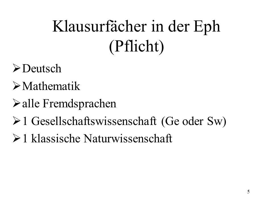 5 Klausurfächer in der Eph (Pflicht)  Deutsch  Mathematik  alle Fremdsprachen  1 Gesellschaftswissenschaft (Ge oder Sw)  1 klassische Naturwissenschaft
