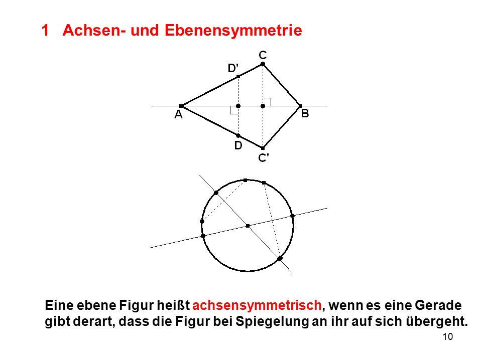 10 1 Achsen- und Ebenensymmetrie Eine ebene Figur heißt achsensymmetrisch, wenn es eine Gerade gibt derart, dass die Figur bei Spiegelung an ihr auf sich übergeht.