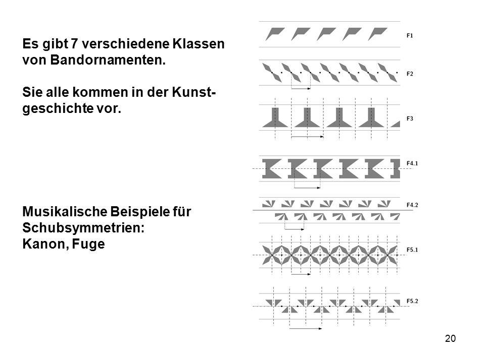 20 Es gibt 7 verschiedene Klassen von Bandornamenten.