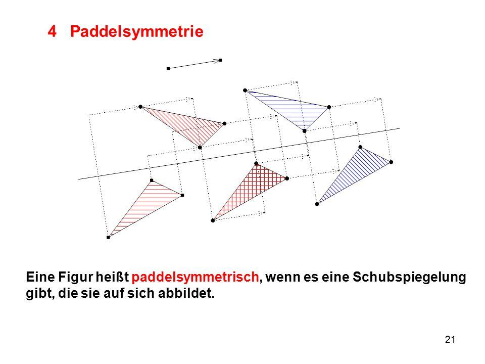 21 4 Paddelsymmetrie Eine Figur heißt paddelsymmetrisch, wenn es eine Schubspiegelung gibt, die sie auf sich abbildet.