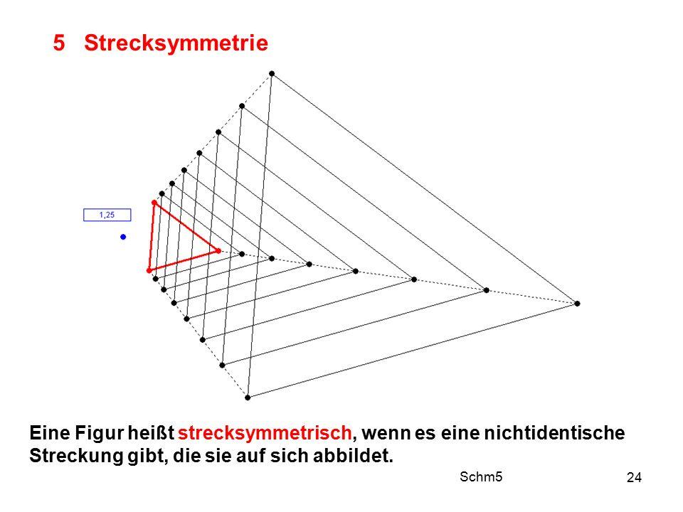 24 5 Strecksymmetrie Eine Figur heißt strecksymmetrisch, wenn es eine nichtidentische Streckung gibt, die sie auf sich abbildet.