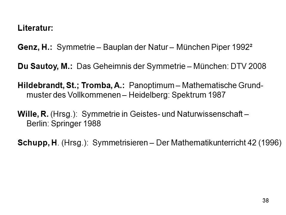 38 Literatur: Genz, H.: Symmetrie – Bauplan der Natur – München Piper 1992² Du Sautoy, M.: Das Geheimnis der Symmetrie – München: DTV 2008 Hildebrandt, St.; Tromba, A.: Panoptimum – Mathematische Grund- muster des Vollkommenen – Heidelberg: Spektrum 1987 Wille, R.