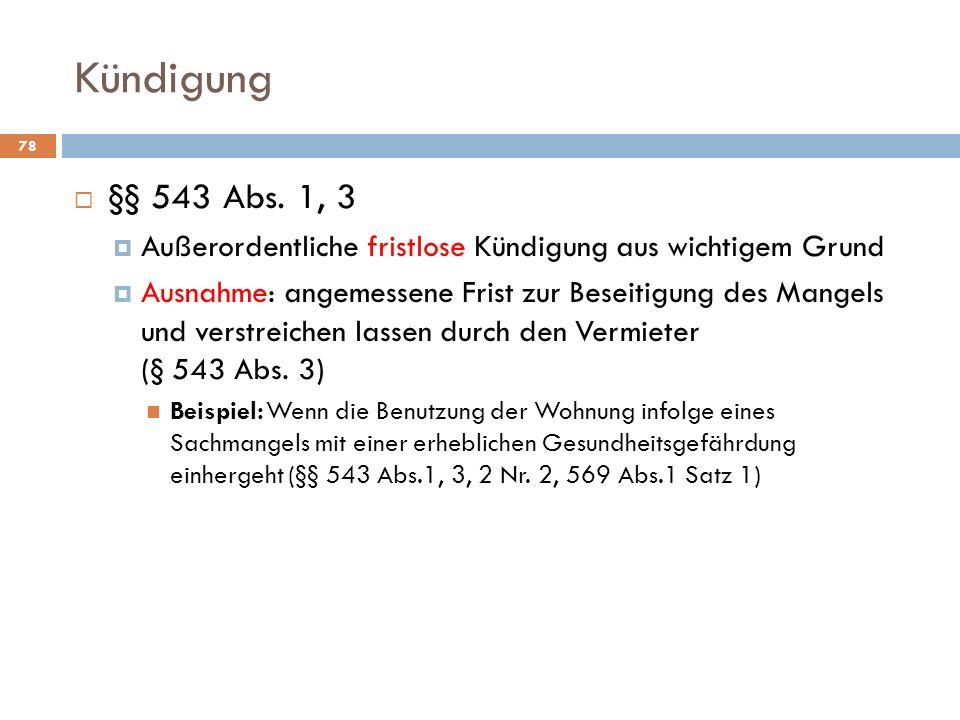 Kündigung  §§ 543 Abs.