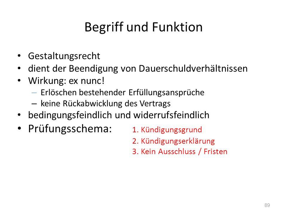 Begriff und Funktion Gestaltungsrecht dient der Beendigung von Dauerschuldverhältnissen Wirkung: ex nunc.