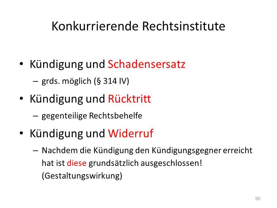 Konkurrierende Rechtsinstitute Kündigung und Schadensersatz – grds.