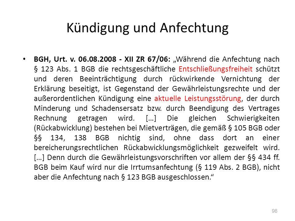Kündigung und Anfechtung BGH, Urt. v.