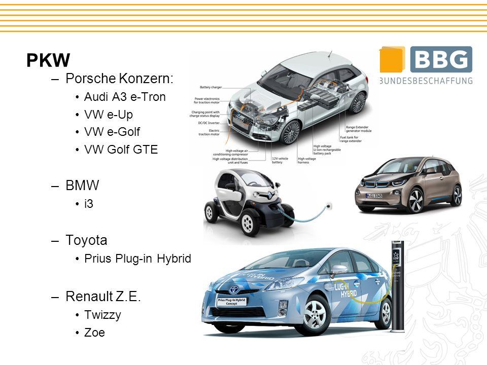 PKW –Porsche Konzern: Audi A3 e-Tron VW e-Up VW e-Golf VW Golf GTE –BMW i3 –Toyota Prius Plug-in Hybrid –Renault Z.E.
