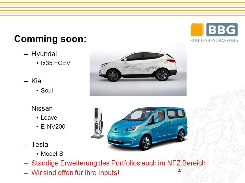 Comming soon: –Hyundai Ix35 FCEV –Kia Soul –Nissan Leave E-NV200 –Tesla Model S –Ständige Erweiterung des Portfolios auch im NFZ Bereich –Wir sind offen für Ihre Inputs.