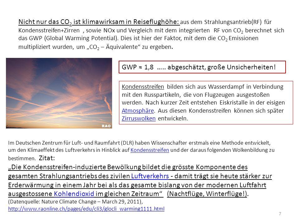 Nicht nur das CO 2 ist klimawirksam in Reiseflughöhe: aus dem Strahlungsantrieb(RF) für Kondensstreifen+Zirren, sowie NOx und Vergleich mit dem integrierten RF von CO 2 berechnet sich das GWP (Global Warming Potential).