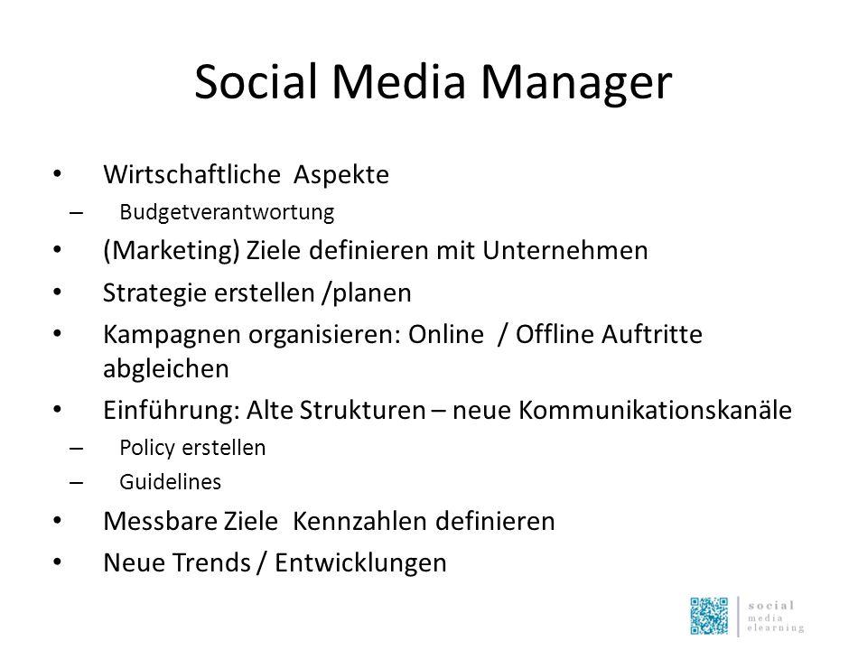 Social Media Manager Wirtschaftliche Aspekte – Budgetverantwortung (Marketing) Ziele definieren mit Unternehmen Strategie erstellen /planen Kampagnen
