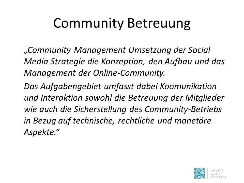 """Community Betreuung """"Community Management Umsetzung der Social Media Strategie die Konzeption, den Aufbau und das Management der Online-Community. Das"""