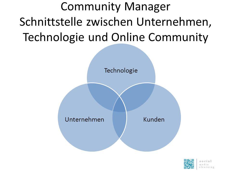 Community Manager Schnittstelle zwischen Unternehmen, Technologie und Online Community Technologie KundenUnternehmen