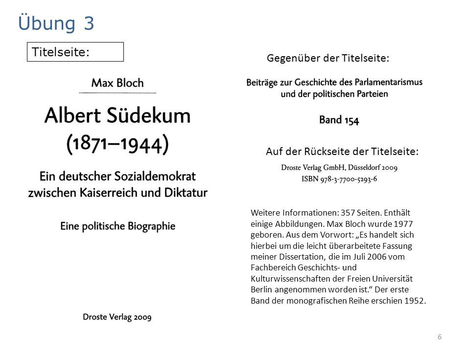 6 Übung 3 Titelseite: Gegenüber der Titelseite: Auf der Rückseite der Titelseite: Weitere Informationen: 357 Seiten.