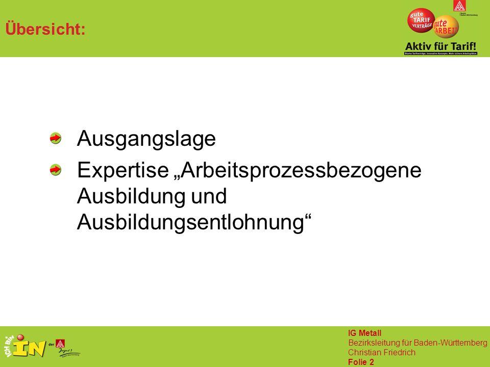 """IG Metall Bezirksleitung für Baden-Württemberg Christian Friedrich Folie 2 Übersicht: Ausgangslage Expertise """"Arbeitsprozessbezogene Ausbildung und Ausbildungsentlohnung"""