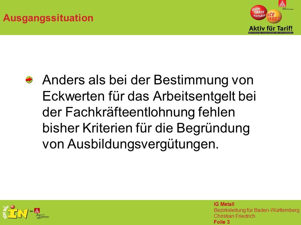 IG Metall Bezirksleitung für Baden-Württemberg Christian Friedrich Folie 3 Ausgangssituation Anders als bei der Bestimmung von Eckwerten für das Arbeitsentgelt bei der Fachkräfteentlohnung fehlen bisher Kriterien für die Begründung von Ausbildungsvergütungen.
