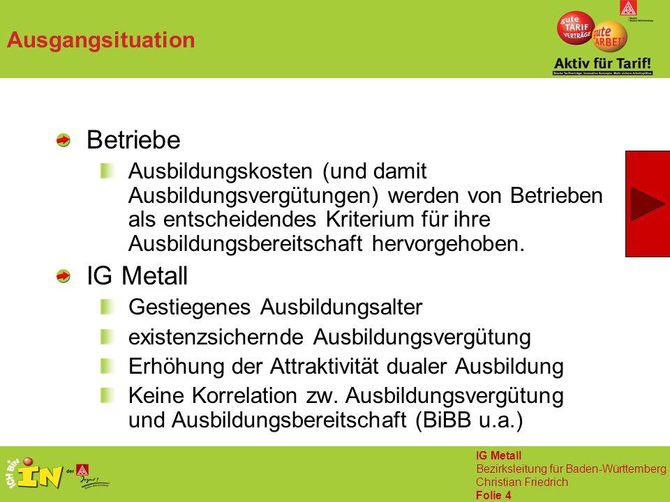 IG Metall Bezirksleitung für Baden-Württemberg Christian Friedrich Folie 4 Ausgangsituation Betriebe Ausbildungskosten (und damit Ausbildungsvergütungen) werden von Betrieben als entscheidendes Kriterium für ihre Ausbildungsbereitschaft hervorgehoben.