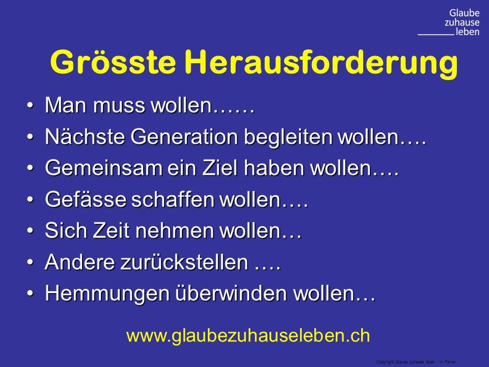 Grösste Herausforderung Man muss wollen……Man muss wollen…… Nächste Generation begleiten wollen….Nächste Generation begleiten wollen….