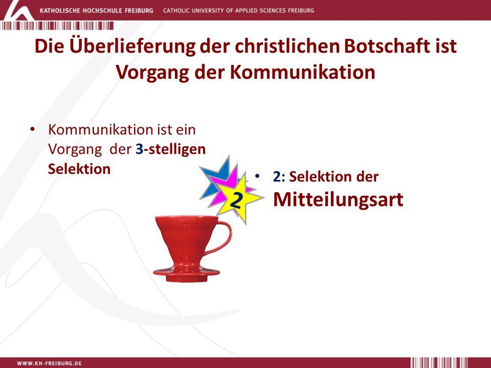 Die Überlieferung der christlichen Botschaft ist Vorgang der Kommunikation Kommunikation ist ein Vorgang der 3-stelligen Selektion 2: Selektion der Mitteilungsart 2 2