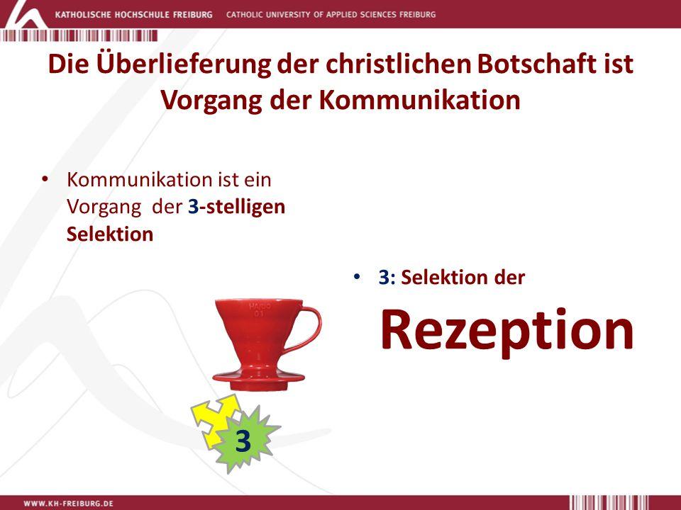Die Überlieferung der christlichen Botschaft ist Vorgang der Kommunikation Kommunikation ist ein Vorgang der 3-stelligen Selektion 3: Selektion der Rezeption 3