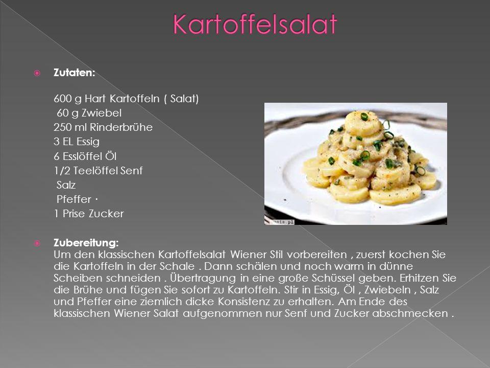  Zutaten: 600 g Hart Kartoffeln ( Salat) 60 g Zwiebel 250 ml Rinderbrühe 3 EL Essig 6 Esslöffel Öl 1/2 Teelöffel Senf Salz Pfeffer · 1 Prise Zucker  Zubereitung: Um den klassischen Kartoffelsalat Wiener Stil vorbereiten, zuerst kochen Sie die Kartoffeln in der Schale.
