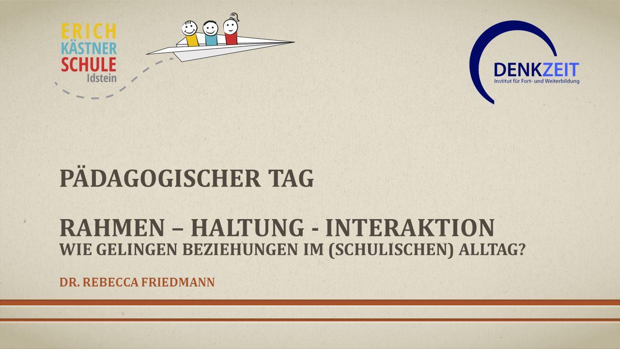 INHALTE DES FORTBILDUNGSTAGES Die Ausgangslage -Frühe Erfahrungen und Affektentwicklung -Folgen von ungünstigen frühen Interaktionen -Möglichkeiten der Veränderung Beziehungsangebot und haltgebender Rahmen -Der Rahmen (in sozialen Situationen) -Gestaltung der Beziehung Kommunikationsstrategien -Hinweise für die Praxis -Bezogenheit auf das Dritte (Triangulierung) Dr.