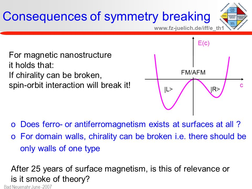 www.fz-juelich.de/iff/e_th1 Bad Neuenahr June -2007 Consequences of symmetry breaking |L>|R> FM/AFM E(c) c For magnetic nanostructure it holds that: If chirality can be broken, spin-orbit interaction will break it.
