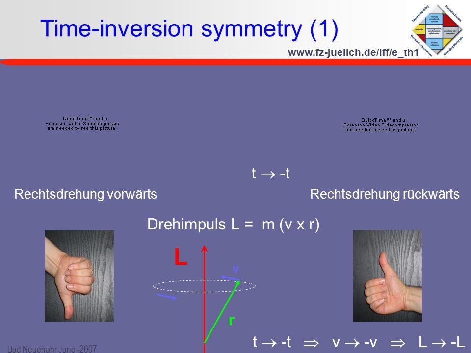 www.fz-juelich.de/iff/e_th1 Bad Neuenahr June -2007 Drehimpuls L = m (v x r) t  -t  v  -v  L  -L Time-inversion symmetry (1) Rechtsdrehung vorwärts Rechtsdrehung rückwärts L r v t  -t  v  -v  L  -L t  -t