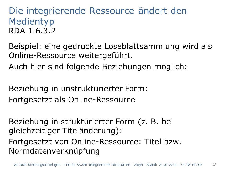 Die integrierende Ressource ändert den Medientyp RDA 1.6.3.2 Beispiel: eine gedruckte Loseblattsammlung wird als Online-Ressource weitergeführt. Auch