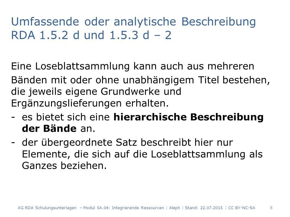 29 AG RDA Schulungsunterlagen – Modul 5A.04: Integrierende Ressourcen | Aleph | Stand: 22.07.2015 | CC BY-NC-SA Beispiel: Update bei Änderung der Veröffentlichungsangabe RDA 2.8.1.5.3 AlephRDAElementErfassung 419 2.8.2Erscheinungsort $a Kissing $b WEKA Media GmbH & Co.