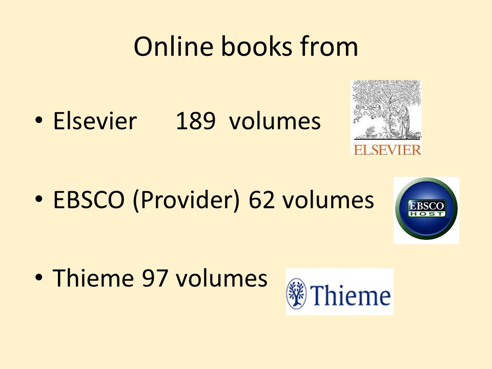 Online books from Elsevier 189 volumes EBSCO (Provider) 62 volumes Thieme 97 volumes