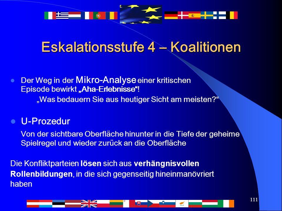 """111 Eskalationsstufe 4 – Koalitionen Der Weg in der Mikro-Analyse einer kritischen Episode bewirkt """"Aha-Erlebnisse ."""