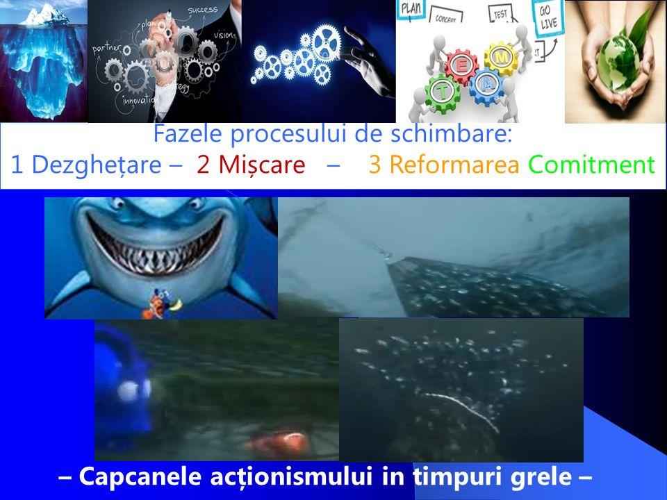 – Capcanele acționismului in timpuri grele – Fazele procesului de schimbare: 1 Dezghețare – 2 Mișcare – 3 Reformarea Comitment