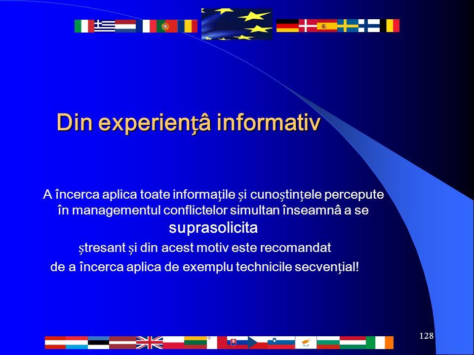 128 Din experienâ informativ A încerca aplica toate informaile i cunotinele percepute în managementul conflictelor simultan înseamnâ a se suprasolicit