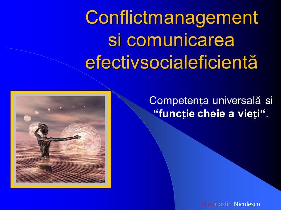 """Conflictmanagement si comunicarea efectivsocialeficientă Competena universală si """"funcie cheie a viei"""". Vlad Costin Niculescu"""