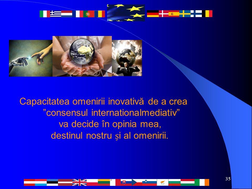 35 Capacitatea omenirii inovativă de a crea consensul internationalmediativ va decide în opinia mea, destinul nostru i al omenirii.