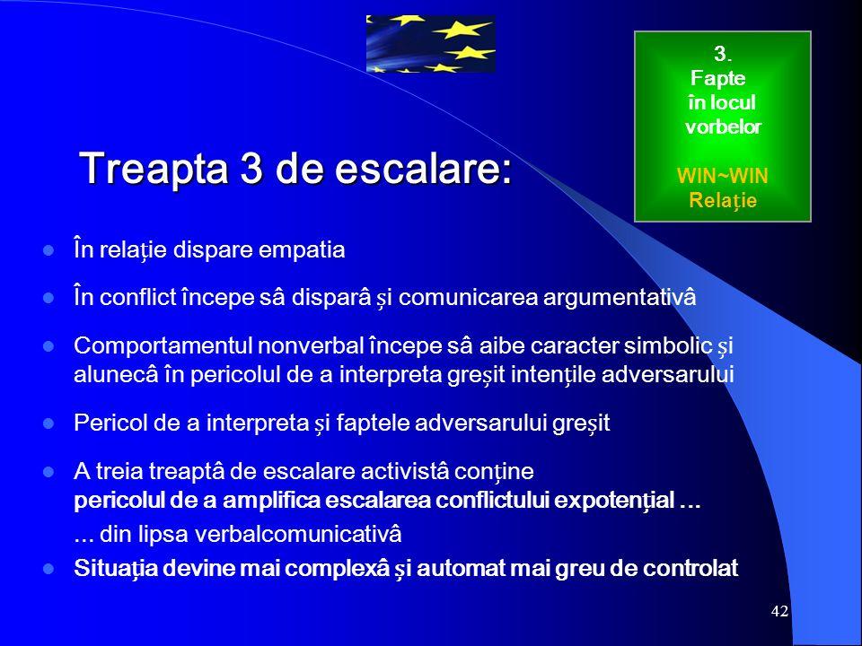 42 Treapta 3 de escalare: În relaie dispare empatia În conflict începe sâ disparâ i comunicarea argumentativâ Comportamentul nonverbal începe sâ aibe