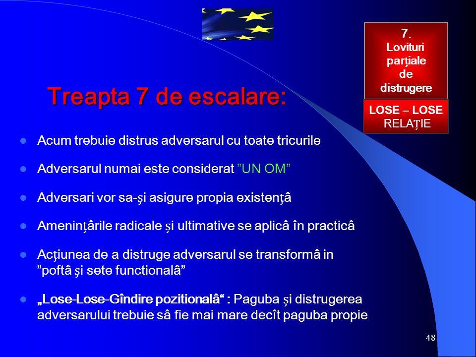 """48 Treapta 7 de escalare: Acum trebuie distrus adversarul cu toate tricurile Adversarul numai este considerat """"UN OM"""" Adversari vor sa-i asigure propi"""